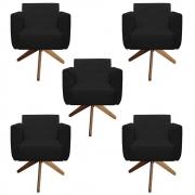 Kit 5 Poltrona Duda Decoraçâo Base Giratória Cadeira Recepção Escritório Clinica D'Classe Decor Suede Preto