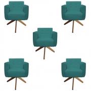 Kit 5 Poltrona Duda Decoraçâo Base Giratória Cadeira Recepção Escritório Clinica D'Classe Decor Suede Azul Tiffany