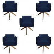 Kit 5 Poltrona Duda Decoraçâo Base Giratória Cadeira Recepção Escritório Clinica D'Classe Decor Suede Azul Marinho