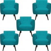 Kit 5 Poltrona Duda Decoraçâo Pé Palito Cadeira Recepção Escritório Clinica D'Classe Decor Suede Azul Tiffany