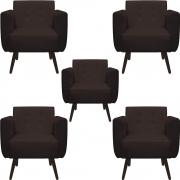Kit 5 Poltrona Duda Decoraçâo Pé Palito Cadeira Recepção Escritório Clinica D'Classe Decor Suede Marrom