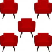 Kit 5 Poltrona Duda Decoraçâo Pé Palito Cadeira Recepção Escritório Clinica D'Classe Decor Suede Vermelho