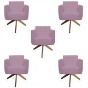 Kit 5 Poltrona Duda Strass Base Giratória Cadeira Escritório Consultório Salão D'Classe Decor Suede Rosa Bebê