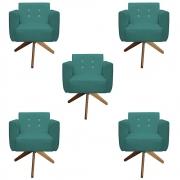 Kit 5 Poltrona Duda Strass Base Giratória Cadeira Escritório Consultório Salão D'Classe Decor Suede Azul Tiffany