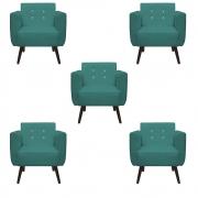Kit 5 Poltrona Duda Strass Decoração Cadeira Escritório Consultório Salão D'Classe Decor Suede Azul Tiffany