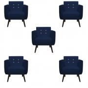 Kit 5 Poltrona Duda Strass Decoração Cadeira Escritório Consultório Salão D'Classe Decor Suede Azul Marinho