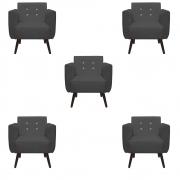 Kit 5 Poltrona Duda Strass Decoração Cadeira Escritório Consultório Salão D'Classe Decor Suede Grafite
