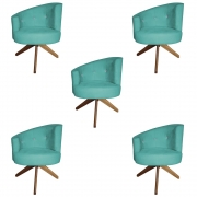 Kit 5 Poltrona Giovana Strass Decoração Base Giratória Clinica Escritório Recepção D'Classe Decor Suede Azul Tiffany
