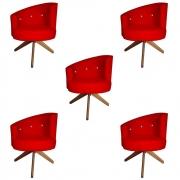 Kit 5 Poltrona Giovana Strass Decoração Base Giratória Clinica Escritório Recepção D'Classe Decor Suede Vermelho