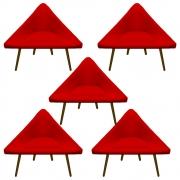 Kit 5 Poltrona Ibiza Triângulo Decoração Sala Clinica Recepção Escritório Quarto Cadeira D'Classe Decor Suede Vermelho
