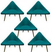 Kit 5 Poltrona Ibiza Triângulo Decoração Sala Clinica Recepção Escritório Quarto Cadeira D'Classe Decor Suede Az Tiffany