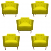 Kit 5 Poltrona Isa Decoração Clinica Recepção Escritório Quarto Cadeira D'Classe Decor Suede Amarelo