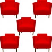 Kit 5 Poltrona Isa Decoração Clinica Recepção Escritório Quarto Cadeira D'Classe Decor Suede Vermelho
