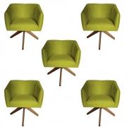 Kit 5 Poltrona Julia Decoração Base Giratória Clinica Cadeira Escritório Recepção Suede Amarelo