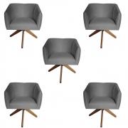 Kit 5 Poltrona Julia Decoração Base Giratória Clinica Cadeira Escritório Recepção Suede Grafite