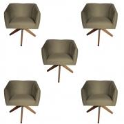 Kit 5 Poltrona Julia Decoração Base Giratória Clinica Cadeira Escritório Recepção Suede Marrom Rato