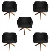 Kit 5 Poltrona Julia Decoração Base Giratória Clinica Cadeira Escritório Recepção Suede Preto