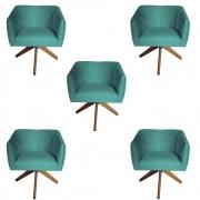 Kit 5 Poltrona Julia Decoração Base Giratória Clinica Cadeira Escritório Recepção Suede Tiffany