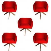 Kit 5 Poltrona Julia Decoração Base Giratória Clinica Cadeira Escritório Recepção Suede Vermelho