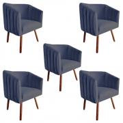 Kit 5 Poltrona Julia Decoração Salão Cadeira Escritório Recepção Sala Estar Amamentação D'Classe Decor Suede Az Marinho