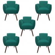 Kit 5 Poltrona Kelly Decoração Clinica Escritório Recepção Sala Estar Quarto Salão D'Classe Decor Suede Azul Tiffany
