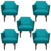 Kit 5 Poltrona Naty Decoração Clínica Salão Cadeira Recepção Escritório Sala Estar  D'Classe Decor Suede Azul Tiffany