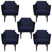 Kit 5 Poltrona Naty Decoração Clínica Salão Cadeira Recepcão Escritório Sala Estar  D'Classe Decor Suede Azul Marinho