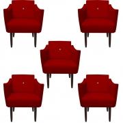 Kit 5 Poltrona Naty Strass Decoração Cadeira Clinica Recepção Salão Escritório D'Classe Decor Suede Vermelho