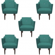 Kit 5 Poltrona Naty Strass Decoração Cadeira Clinica Recepção Salão Escritório D'Classe Decor Suede Azul Tiffany