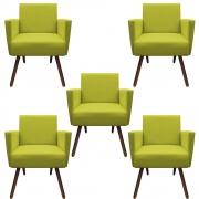 Kit 5 Poltronas Nina Decoração Sala Clinica Recepção Escritório Quarto D'Classe Decor Suede Amarelo