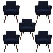 Kit 5 Poltronas Nina Decoração Sala Estar Clinica Recepção Escritório Quarto Cadeira D'Classe Decor Suede Azul Marinho