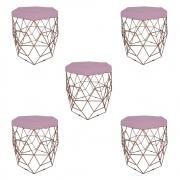 Kit 5 Puff Diamante Aramado Decoração Banqueta Salão Sala Estar Quarto D'Classe Decor Suede Rosa Bebê