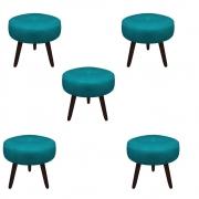 Kit 5 Puff Duda Decoração Redondo Recepção Escritório Sala Estar Salão Quarto D'Classe Decor Suede Azul Tiffany