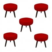 Kit 5 Puff Duda Decoração Redondo Recepção Escritório Sala Estar Salão Quarto D'Classe Decor Suede Vermelho