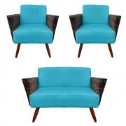 Kit Namoradeira + 2 Poltrona Chanel Decoração Pé Palito Cadeira Escritório Clinica D'Classe Decor Suede Az Tiffany