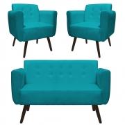 Kit Namoradeira + 2 Poltrona Duda Sofá Decoração Clínica Recepção Escritório Sala Estar D'Classe Decor Suede A Tiffany