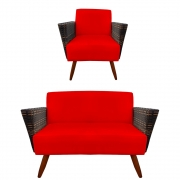 Kit Namoradeira + Poltrona Chanel Decoração Pé Palito Cadeira Escritório Clinica Jantar D'Classe Decor Suede Vermelho