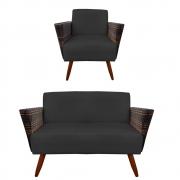 Kit Namoradeira + Poltrona Chanel Decoração Pé Palito Cadeira Escritório Clinica Jantar D'Classe Decor Suede Preto