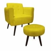 Kit Poltrona e Puff Duda Decorativa Sala de Estar Recepção Pé Palito Suede Amarelo D04 - D´Classe Decor