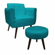 Kit Poltrona e Puff Duda Decorativa Sala de Estar Recepção Pé Palito Suede Azul Tifany D05 - D´Classe Decor