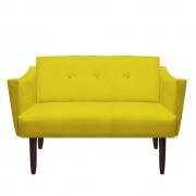 Namoradeira Naty Decorativa Sala de Estar Recepção Pé Palito Suede Amarelo D04 - D´Classe Decor