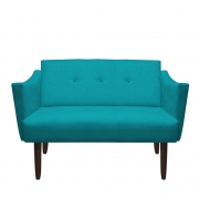 Namoradeira Naty Sofá Recepção Botão Tecido Salão Escritório Sala Estar Quarto D'Classe Decor Suede Azul Tiffany