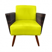 Poltrona Chanel Decoração Pé Palito Cadeira Escritório Clinica Jantar Estar Suede Amarelo
