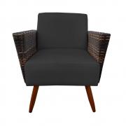 Poltrona Chanel Decoração Pé Palito Cadeira Escritório Clinica Jantar Estar Suede Preto