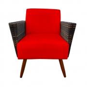 Poltrona Chanel Decoração Pé Palito Cadeira Escritório Clinica Jantar Estar Suede Vermelho