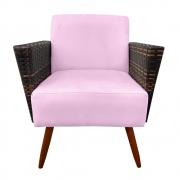 Poltrona Chanel Decoração Pé Palito Cadeira Escritório Clinica Jantar Sala Estar D'Classe Decor Suede Rosa Bebê
