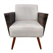 Poltrona Chanel Decoração Pé Palito Cadeira Escritório Clinica Jantar Sala Estar D'Classe Decor Suede Bege