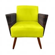 Poltrona Chanel Decoração Pé Palito Cadeira Escritório Clinica Jantar Sala Estar D'Classe Decor Suede Amarelo