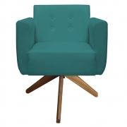 Poltrona Duda Decoraçâo Base Giratória Cadeira Recepção Escritório Clinica D'Classe Decor Suede Azul Tiffany