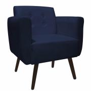 Poltrona Duda Decoraçâo Pé Palito Cadeira Recepção Escritório Clinica D'Classe Decor Suede Azul Marinho